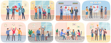 Successful Project Execution, Happy Colleagues Congratulate Each Other Joyfully Raised Their Hands Up. Teamwork, Conversation In Office. Businessmen Discuss Company S Business Strategy Scenes Set