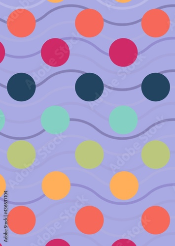 Composition of multiple colourful spots over wave pattern on purple background
