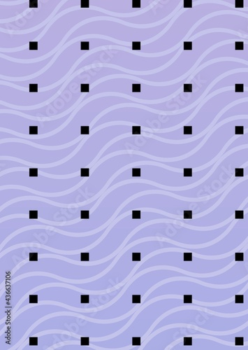Composition of multiple rows of black squares over wave pattern on purple background