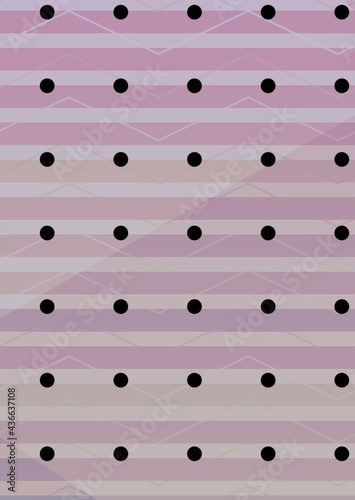 Composition of multiple rows of black spots over pattern on purple background