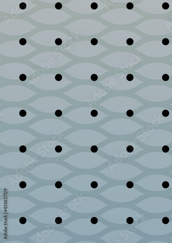 Composition of multiple rows of black spots over pattern on grey background