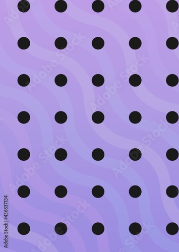 Composition of multiple rows of black spots over wave pattern on purple background