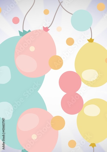 Composition of pastel blue, pink and yellow balloons and on pale lilac stripe and white background