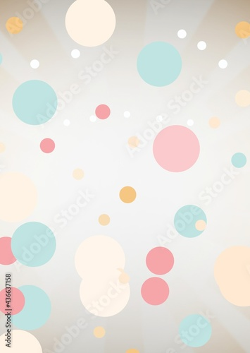 Composition of colourful pastel and white circles on cloudy pale grey background