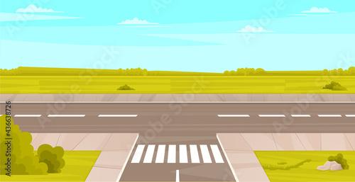 Fototapeta Street with field, clouds, plants and asphalt road