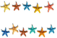 Colorful Cute Starfish Pattern. Nautical Or Marine Theme Of Sea Life. Bright Summer Style.