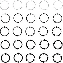 25 Arrow Pictogram Refresh Reload Rotation Loop Sign Set. Circular Arrows. Simple Web Icon On White Background