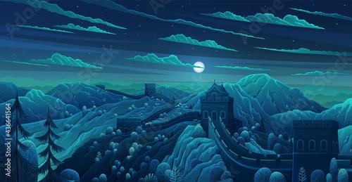Great Wall of China vector illustration Fotobehang