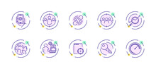 10 In 1 Vector Icons Set Related To Seo Link Optimization Theme. Violet Lineart Vector Icons