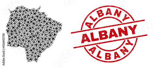 Valokuva Albany rubber seal, and Mato Grosso do Sul State map collage of air force elements