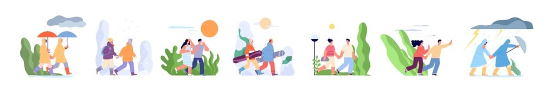 Couple walking in seasons. Autumn walk with umbrella, outdoor various weather. Rainy day, winter sport people. Summer heat season utter vector set