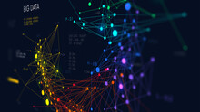 Analysis And Sorting Financial Big Data, Digital Visualization Information Networks Flow, Abstract Color Infographics, Monitor Screen In Perspective