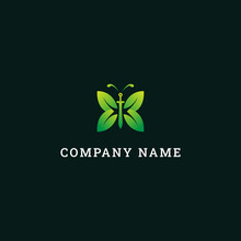Logo Green Butterfly Sword, Simple Leaf Icon With Butterfly.