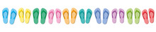 Colorful Flip Flops, Ten Colored Pairs Of Rubber Sandals, Symbolic For Group Travel, Teamwork, Funny Friends Or Happy Family Holiday - Isolated Vector Illustration On White.