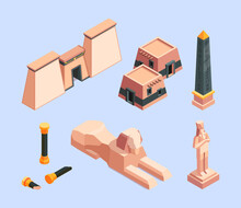 Ancient Egypt. Architectural Old Objects Of Egypt Pyramid Buildings Desert Historical Constructions Garish Vector Isometric Illustrations
