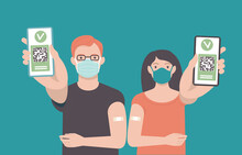 Young Vaccinated People Using Digital Health Passports. Adult Man And Woman Showing An App In Mobile Phone. Immunization Certificate With Qr Code On Device Screen. Green Immunity Pass.