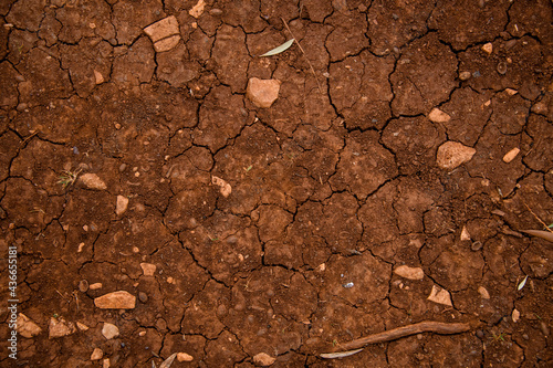 Canvastavla Top view of dry ground with cracked texture