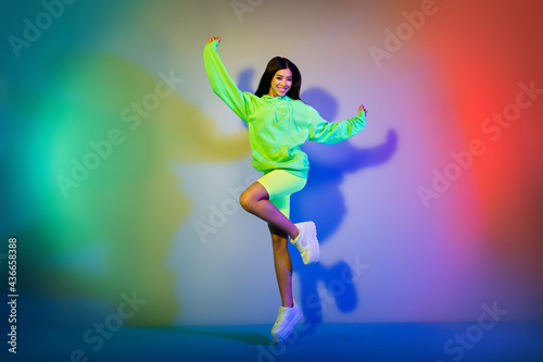 Canvas Full length body size view of attractive cheerful girl jumping having fun isolat