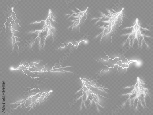 Set of zippers, thunderstorm and effect lightning. Fototapeta