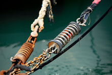 Detail Of A Boat Chain Tied To A Dock