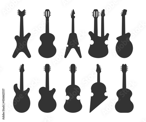 Fotografiet Guitar forms vector black silhouettes set isolated on a white background