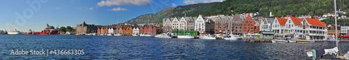 Fotografie, Tablou Panoramic view along harbor of Bergen with its landmark Bryggen, Norw