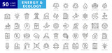 Set of green energy thin line icons. Icons for renewable energy, green technology. Design elements for you projects. Vector illustration