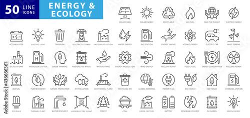 Obraz na plátne Set of green energy thin line icons