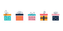 A Set Of Bright Colorful Square Gift Boxes On A White Background With Bows In A Flat Doodle Style. Vector Illustration. Nursery Decor, Posters, Postcards, Clothing And Interior Items