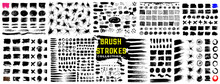Grunge Brush Collection. Set Of Grunge Black Paint, Ink Brush Strokes. Set Of Grunge Brush. Trendy Brush Stroke For Black Ink Paint, Grunge Backdrop, Dirt Banner, Watercolor Design And Dirty Texture.