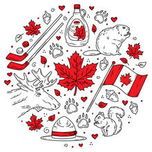 Canada Traditional Doodle-style Symbols And Icons Set, Hand-drawn. Circular Vector Concept For Greeting Cards, Banners And Posters. Flag, Maple Leaves And Animals.