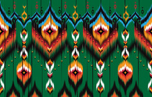 Ikat Geometric Folklore Ornament. Tribal Ethnic Vector Texture.  Seamless Striped Pattern In Aztec Style. Figure Tribal Embroidery.  Indian, Scandinavian, Gyp Sy, Mexican, Folk Pattern.