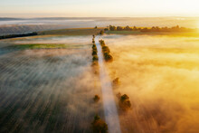 Splendid View From A Drone Flying Over The Morning Agricultural Land.