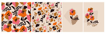 Minimalist Contemporary Floral Abstract Pattern Set