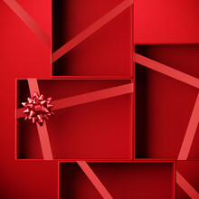 Minimal Product Background For Christmas, New Year And Sale Event Concept. Red Gift Box With Ribbon Bow On Red Background. 3d Render Illustration. Clipping Path Of Each Element Included.