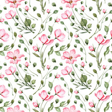 Seamless Pattern With Hand Painted Watercolor Pink Flowers And Green Leaves. Tea Rose And Peony