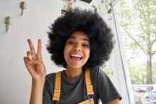Young Happy African American Generation Z Student Female Hipster Recording Vlog Indoor. Webcam View Of Smiling Teenage Beauty Blogger Influencer Speaking To Friend Online In Virtual Video Call.