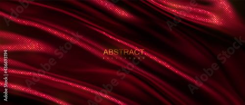 Tela Dark red wavy textile with golden glitters pattern