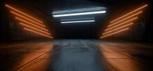 Neon Laser  Orange White Vibrant Sci Fi Futuristic Warehouse Empty Stage Showcase Room Corridor Tunnel Grunge Concrete Dark Underground Background 3D Rendering
