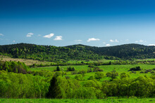 Beautiful Landscape On Poland And Ukraine Border Frontier . Nature In Bieszczady Park.
