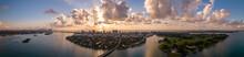 Beautiful Miami Panorama Sunrise Over The Ocean