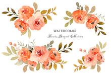 Watercolor Orange Rose Flower Bouquet Collection