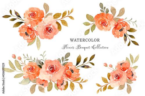 Obraz na plátně Watercolor orange rose flower bouquet collection