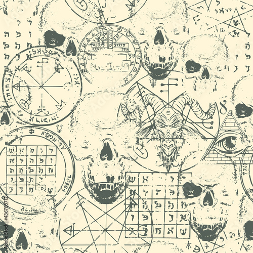 Obraz na płótnie Abstract seamless pattern with goat head, human skulls, esoteric and occult symbols on an old paper backdrop