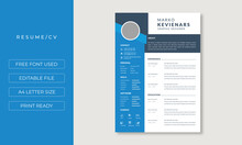 Resume Layout With Sidebar And Blue Elements