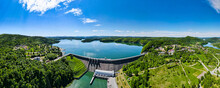 Hydroelectric Power Plant At Solina Lake. Solina Dam In Poland. Renewable Energy Hydropower. Drone Panorama