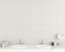 Modern Bathroom Wall Made Of White Tiles
