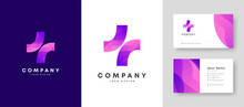 Colorful Initial Health Care Plus   Logo With Premium Corporate Stylish Business Card Design Vector Template For Your Company Business