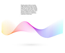 Design Elements. Wave Of Many Glittering Lines. Abstract Glow Wavy Stripes On White Background Isolated. Creative Line Art. Vector Illustration EPS 10. Colourful Waves With Lines Created Using Blend