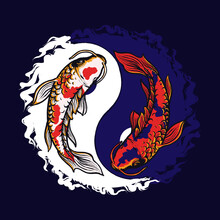 Fish Vector Illustration Design In The Form Of Koi Yin And Yang Which Is Suitable For T-shirt Design And Others